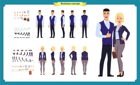 Business Man and woman character constructor with various views, hairstyles, poses and gestures in casual clothes. Front, side, back view. flat vector illustration.isolated on white. business people Imagens - 129489171