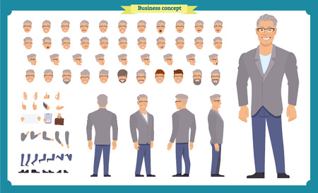 Business casual fashion. Front, side, back view animated character. Manager character constructor with various views, hairstyles, face emotions, poses and gestures. Cartoon style, flat vector isolated Imagens - 118936004