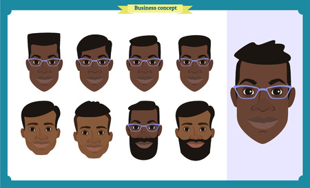 Group of working people, business black american man avatar icons.Flat design people characters.Business avatars set. Isolated vector. Face template for design, animation.Smiling.People characters Imagens - 118936005