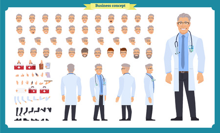 Front, side, back view animated character. Doctor character creation set with various views, face emotions, hairstyles, poses and gestures. Cartoon style, flat vector Isolated on white.Male dentists