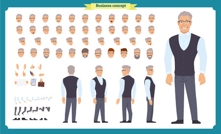 Business casual fashion. Front, side, back view animated character. Manager character constructor with various views, hairstyles, face emotions, poses and gestures. Cartoon style, flat vector isolated Imagens - 118936011