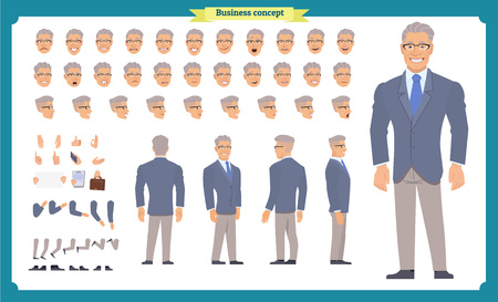 Front, side, back view animated character. Manager character creation set with various views, hairstyles, face emotions, poses and gestures. Cartoon style, flat vector illustration.People character Imagens - 118936013