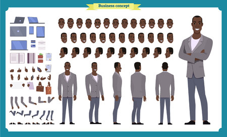 People character business set. Front, side, back view animated character. Black american Businessman character creation set.simple, face emotions, poses and gestures.Cartoon style,flat isolated vector Imagens - 118830693