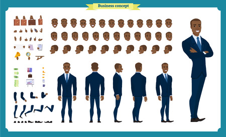 People character business set. Front, side, back view animated character. Black american Businessman character creation set.simple, face emotions, poses and gestures.Cartoon style,flat isolated vector Imagens - 118830695