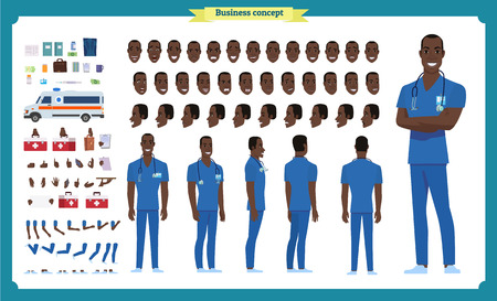 Front, side, back view animated black american character. Doctor character creation set with various views, face emotions, poses and gestures. Cartoon style, flat vector illustration.Isolated.Male
