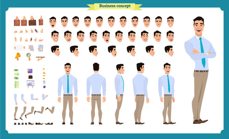 Front, side, back view animated character. Manager character creation set with various views, hairstyles, face emotions, poses and gestures. Cartoon style, flat vector illustration.People character Imagens - 118830709