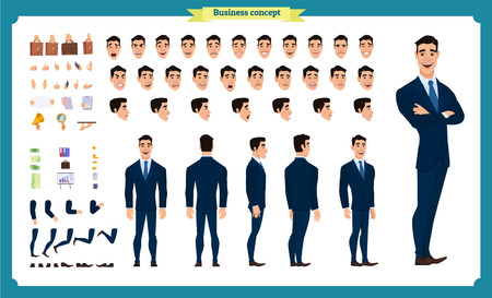 Front, side, back view animated character. Manager character creation set with various views, hairstyles, face emotions, poses and gestures. Cartoon style, flat vector illustration.People character Ilustração
