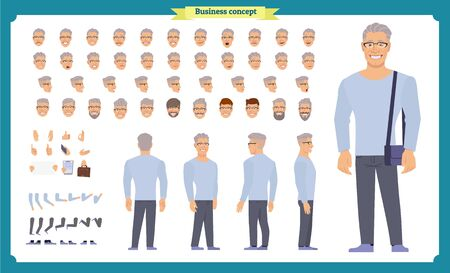 Front, side, back view animated character set with various views, hairstyles, face emotions, poses and gestures. man in casual clothes.Cartoon style, flat vector illustration.People character Imagens - 135299373