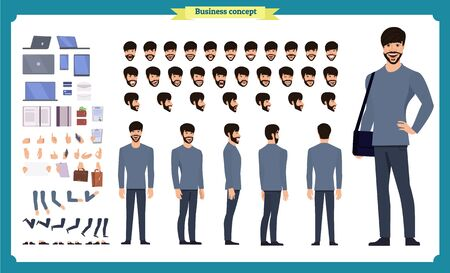 Hipster creation kit. Set of flat male cartoon character body parts, skin types, facial gestures, hairstyles, trendy clothing, stylish accessories isolated on white background. Vector illustration. Imagens - 135299371