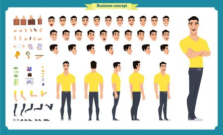 Conjunto de personajes animados de vista frontal, lateral y posterior con varias vistas, peinados, emociones faciales, poses y gestos. hombre, en, casual, clothes., caricatura, estilo, plano, vector, illustration., gente, carácter