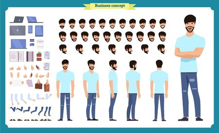 Hipster creation kit. Set of flat male cartoon character body parts, skin types, facial gestures, hairstyles, trendy clothing, stylish accessories isolated on white background. Vector illustration.