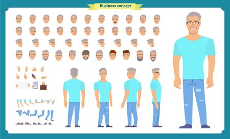 Tourist male, vacation traveller character creation set. Full length, Front, side, back views, face emotions, poses and gestures. Cartoon flat-style infographic vector isolated Ilustração