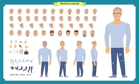 Front, side, back view animated character set with various views, hairstyles, face emotions, poses and gestures. man in casual clothes.Cartoon style, flat vector illustration.
