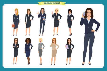 Businesswoman character design  isolated  on white. People character set in various poses different nationalities. flat cartoon. Business woman.