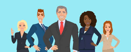 Business team. A group of people dressed in strict suit. Illustration in a flat style. Business teamwork. People character different nationalities.