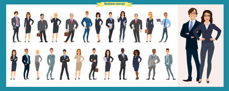 Set of business characters working in office  International business team. Global corporate business people line-up. Large diverse group of office workers Ilustração