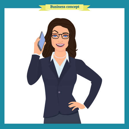 Businesswoman with phone character