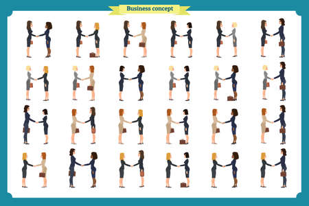 businesswomen handshake. Business people teamwork, set of business women in different poses,profile, front, standing, arms crossed, handshaking, cartoon flat-style vector illustration Ilustração