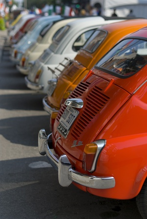 fiat: A collection of small Fiat 500 Stock Photo