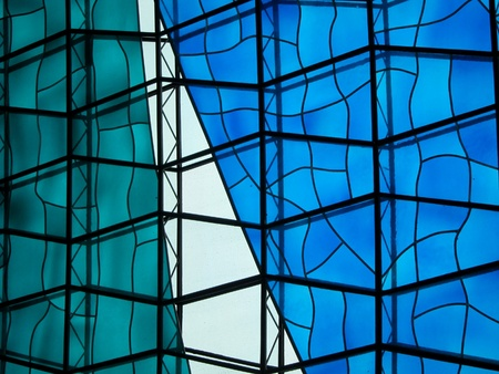 catholic stained glass: Glass Wall of the National Cathedral of Brazil Stock Photo