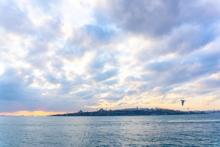 Silhouette of Istanbul at the sunset, Turkey.