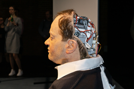 Moscow, Russia, February 12, 2019: Cyborg, clone, robot android and artificial man concept - Thomas Melle, after the show Uncanny Valley, Rimini Protokoll