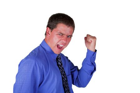 Professional Man in Blue Shirt with Black Tie shouting and Celebrating witrh Clasped Fist on isolated back ground