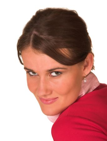 Professional young white lady looking at me,red sweater jersey, pink top looking at the camera. White isolated back ground. Stock Photo