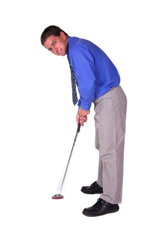 visualizing: Man with blue shirt about to put . Isolated white background