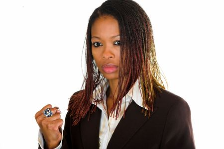 Professional black Afrcian business lady has an angry look on her face.