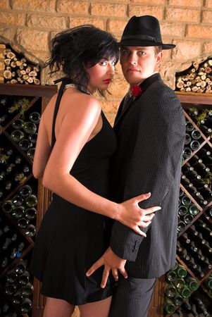 affectionate couple having a close dance, true love