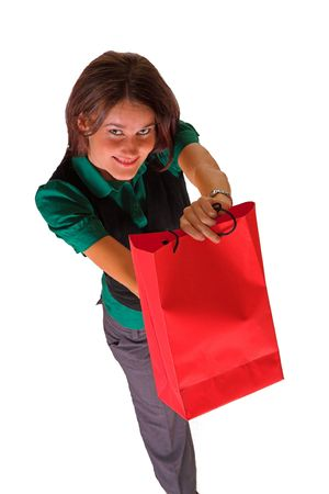 a business lady holding a red shopping bag and pretending to give it to someone