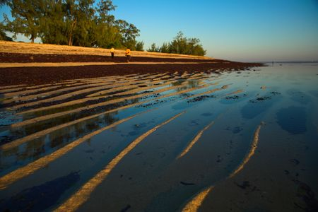 caused: A beach scene with ripples caused by the waves on the sand outside Pemba, Mozambique.