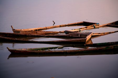 these dugouts canoes sank in the lake Chiurre in Malawi. No more used fore fishing.