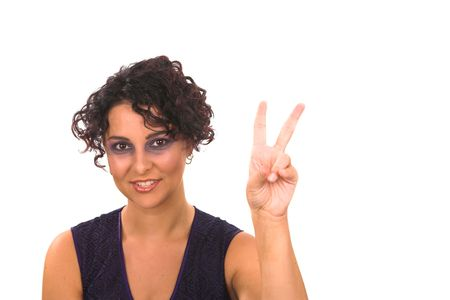 a professional business lady is showing two fingers as she is counting, the image is on a white isolated background Stock Photo