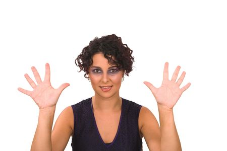 a professional business lady is showing ten fingers as she is counting, the image is on a white isolated background Stock Photo
