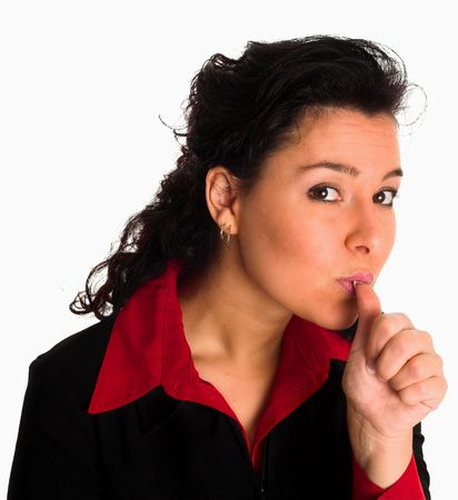 a beautiful lady is sucking something out of her thumb as in the proverb. Childish behaviour