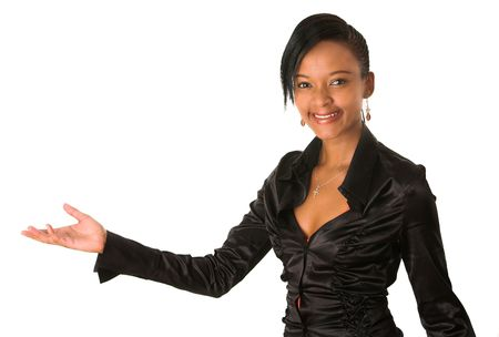 A beautiful young african business lady is holding her hand outstretched to take or give something