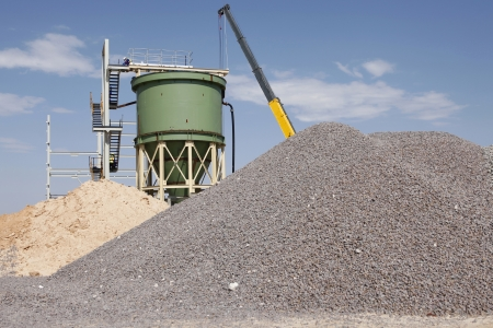 An industrial diamond mining plant is under construction with a lot of unfished work.