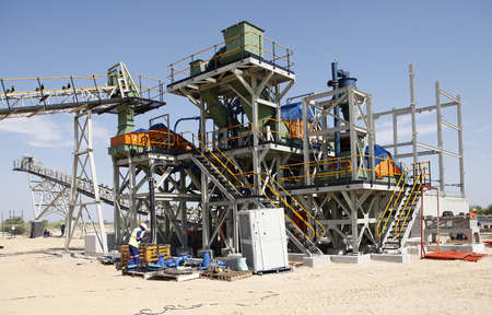 duty belt: A photo of an incomplete diamond mine washing and seperation plant