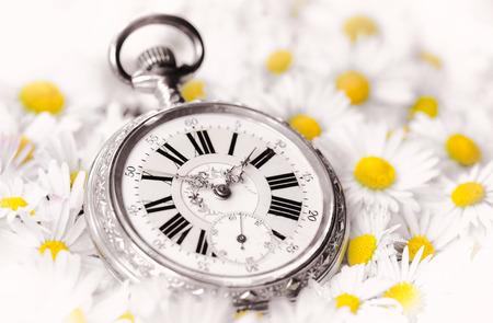fleurs romantique: pocket watch in a beautiful romantic flowers Banque d'images