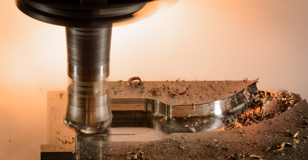 splinters: Milling cutter machine work with Splinters flying off on a light background Stock Photo