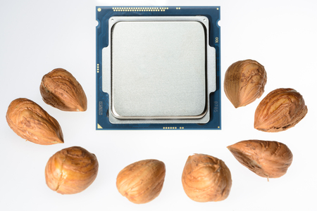 symbolized: eight-core processor on light background When the cores are symbolized by nut cores