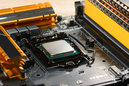 memoirs: Modern processor fitted with the PC motherboard with a cascade of power and memoirs Stock Photo