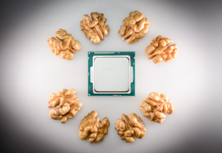 symbolized: eight-core processor When the cores are symbolized by unfocussed nut cores Stock Photo
