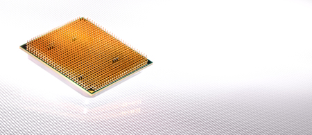 harddisc: modern processor with authentic reflection and background Formed by white light Stock Photo