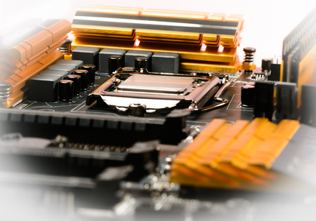 harddisc: Modern processor fitted with the PC motherboard with a cascade of power Stock Photo
