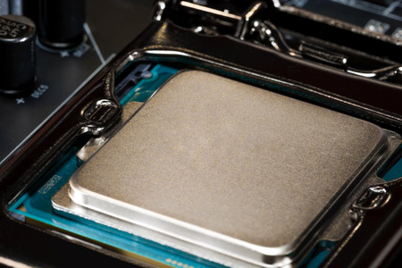 harddisc: Modern processor fitted with the PC motherboard Stock Photo