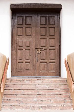 Wooden Entryway Near Downtown Santa Fe, New Mexico Stock Photo
