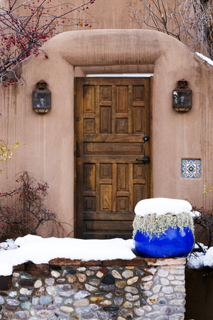 Intricate Ornate Wooden Door in Santa Fe, New Mexico